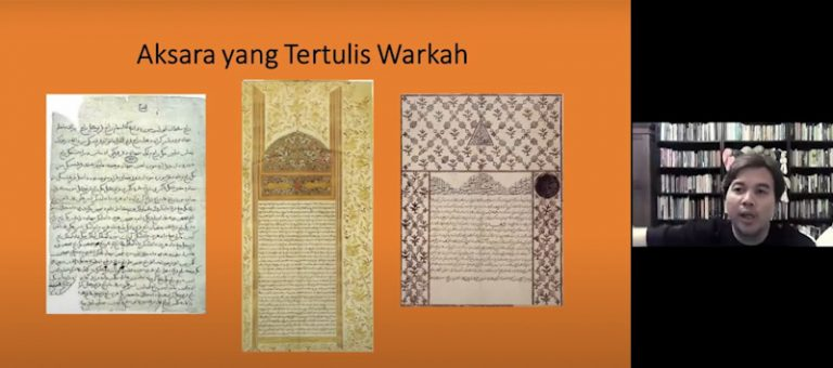 Dr Azhar providing examples of Jawi script being used in royal correspondences, decrees, and poems. (Credit: Malay Heritage Foundation)