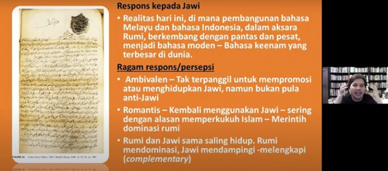 Dr Azhar highlighting the variety of responses and perceptions towards Jawi script. (Credit: Malay Heritage Foundation)